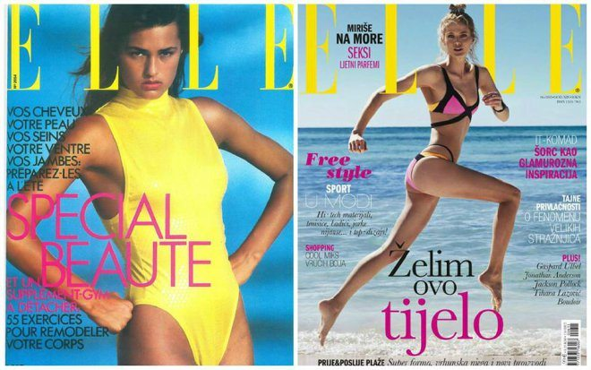 Foto: Facebook event [Francuska naslovnica Ellea iz 1985. i aktualna hrvatska naslovnica za lipanj 2015.]