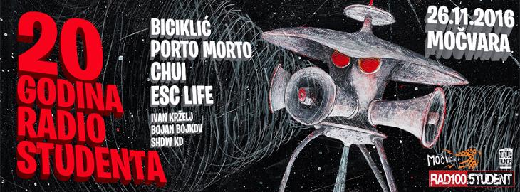Biciklić, Porto Morto, Chui i ESC Life 26. studenoga u Močvari